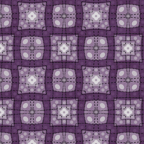 70s style check bedsheet - purple