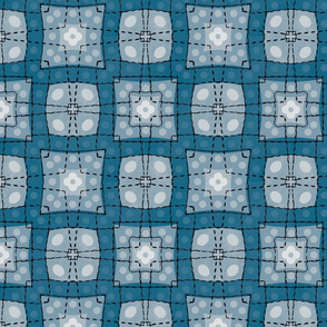 70s style check bedsheet - blue