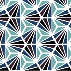 Geometric Pattern: Hexagon Ray: Midnight