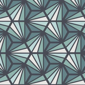 Geometric Pattern: Hexagon Ray: Seafoam