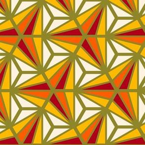 Geometric Pattern: Hexagon Ray: Sunset