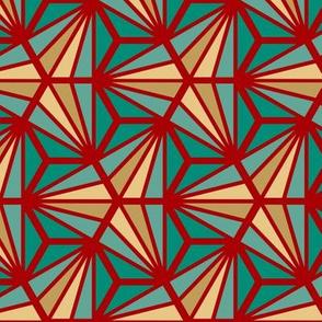Geometric Pattern: Hexagon Ray: Turquoise