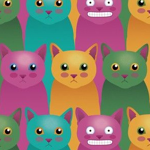 Colorful cats smile