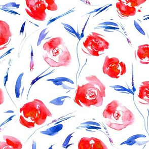 Red roses for princess ★ watercolor patriotic flowers for modern home decor, bedding, nursery