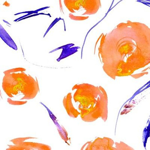 Orange roses for princess - watercolor painted florals for modern home decor, bedding, nursery