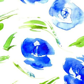 Blue roses for princess - watercolor flowers