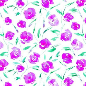 Neon lilac roses for princess - watercolor pink flowers