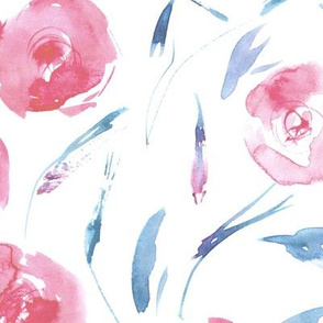 Blush pink roses for princess ★ large scale watercolor flowers for modern home decor, bedding, nursery, baby girl, romantic