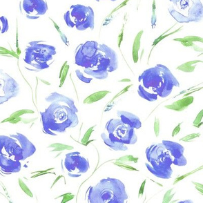 Watercolor blue roses for princess - painted flowers for modern home decor, bedding, nursery