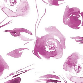 Plum watercolor roses for princess ★ large scale painted tonal flowers for modern home decor, bedding, nursery