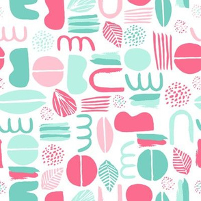 Pink and teal Abstract Shapes