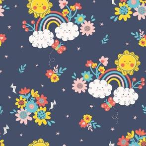 Rainbow Garden navy