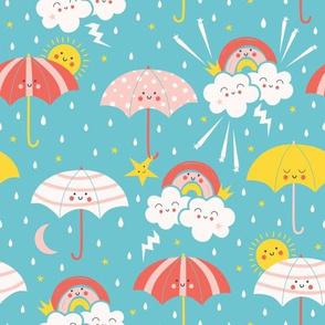 Umbrella Friends turquoise blue