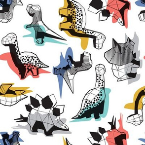 Small scale // Geometric Dinos // non directional design white background multicoloured dinosaurs shadows