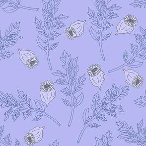 Poppy Leaves _ Seeds Cyan