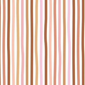 Irregular hand drawn stripes boho summer breton marine Parisian style minimal basic vertical rust copper pink spring palette