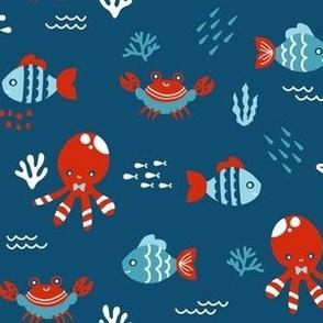 Sea Creatures - Blue