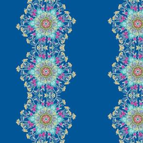 Floral mandalas on blue