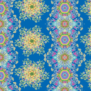 Multicolored joyful blue mandala