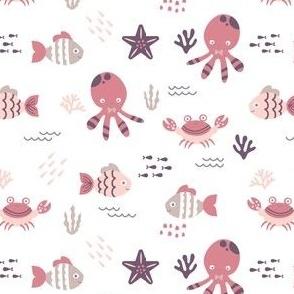 Sea Creatures - Pastel Plum