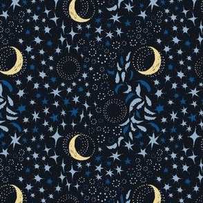 Ditsy Moon Among the Stars - Blues with Yellow Moon