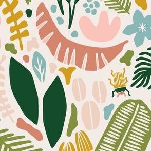Tropical Adventure Woodcut // Colorful Geometric Florals, Botanicals, and Bugs // Pineapple, Palm Tree, Banana Leaf, Coffee Beans, Beetles, Fronds, Garden, Escape, Citrus, Fruit