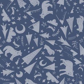Night Forest - blue grey