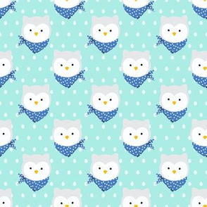 Snowy Owl Artic Animals Polka Dot Blue