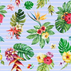 Tropical flowers _ leaves stripes blue