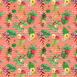 Small tropical flowers _ leaves stripes coral