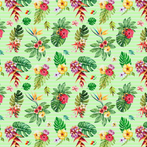 Smallropical flowers _ leaves stripes green