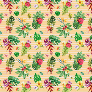 Small tropical flowers _ leaves stripes peach
