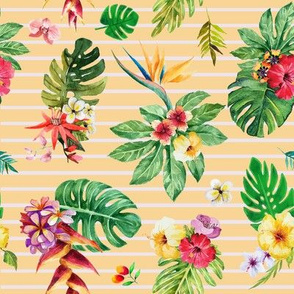 Tropical flowers _ leaves stripes peach