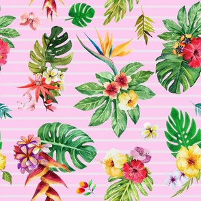 Tropical flowers _ leaves stripes pink