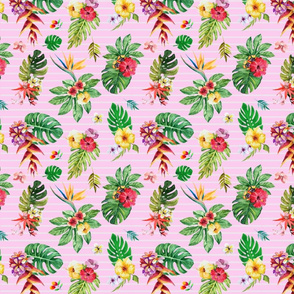 Small Tropical flowers _ leaves stripes pink