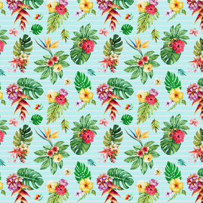 Small tropical flowers _ leaves stripes teal