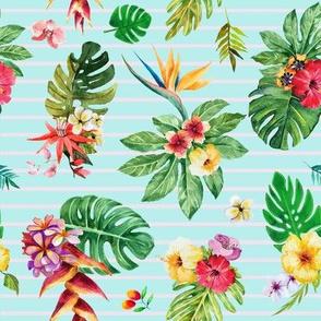 Tropical flowers _ leaves stripes teal