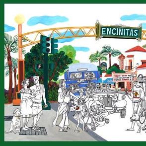 Encinitas, ink and gouache