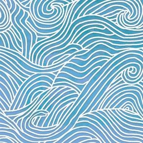 Tumbling ocean waves