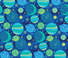 Planet Collage in Blue
