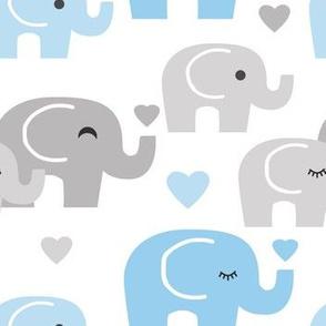 Blue Gray Elephant Baby Boy
