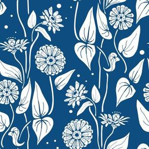 Zinnia Garden, Classic Blue