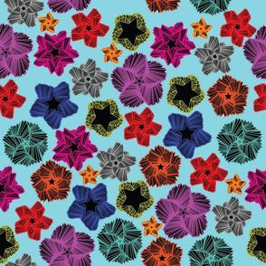Rainbow abstract flower stars