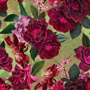 "10"" Vintage Night Roses Green"