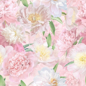"""12"""" Pastel Real Springflower Peony Pattern - multiple Layers"""