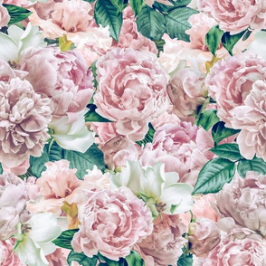 """12"""" Pastel Real Springflower Peony Pattern - Sepia multiple Layers"""