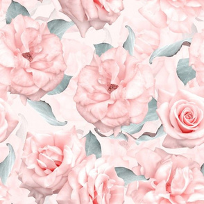 """12"""" Pastel Real Springflower Roses Pattern - multiple Layers"""