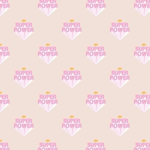 Super power girls woman empowerment and girls super hero print typography peach beige pink  SMALL