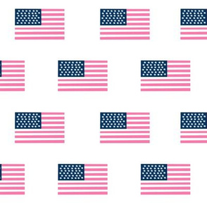 american flag preppy pink - pink american flag fabric - white