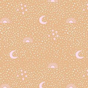 Boho universe sun moon and stars lunar magic summer Scandinavian style nursery soft ginger pink girls